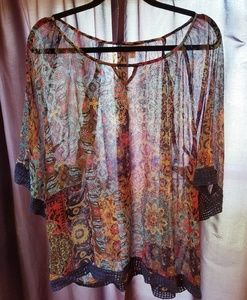 Christopher & Banks Sheer Floral Tunic Top